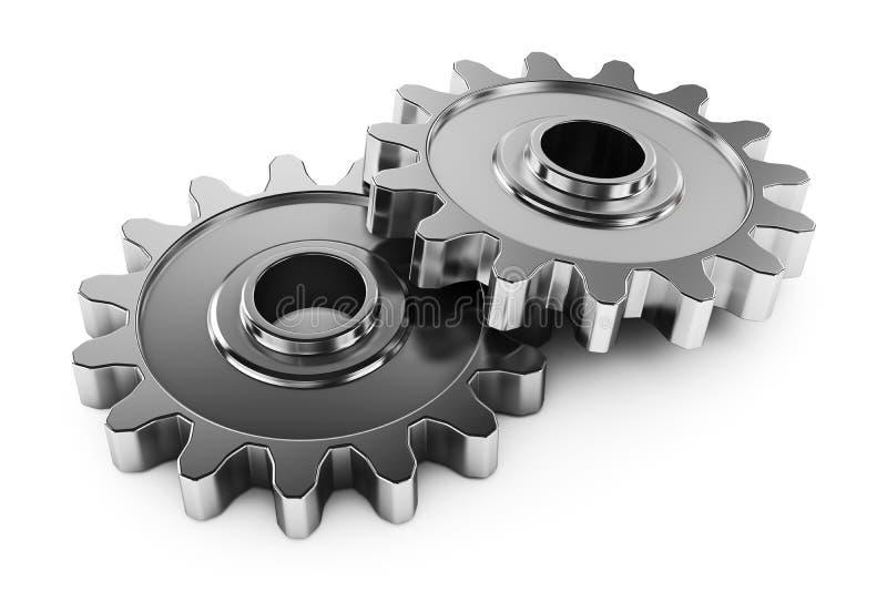 Gruppkugghjul med tänder. Delar av mekanismöverföringen. royaltyfri illustrationer