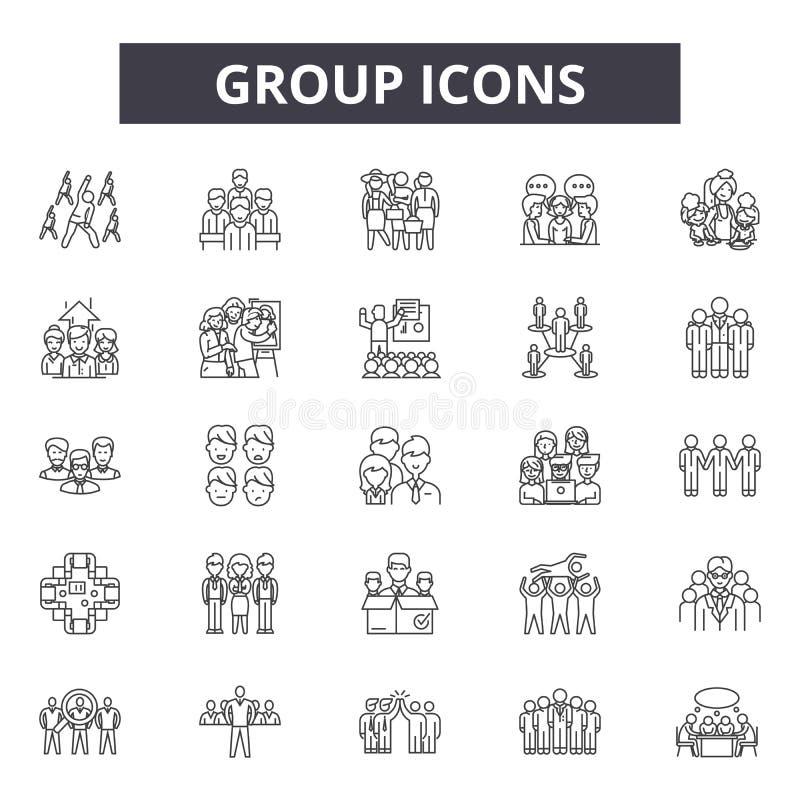 Grupplinje symboler för rengöringsduk och mobil design Redigerbart slaglängdtecken Illustrationer för gruppöversiktsbegrepp royaltyfri illustrationer