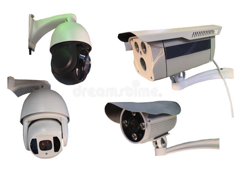 Gruppo all'aperto del CCTV di monitoraggio, videocamere di sicurezza isolate sopra fotografie stock