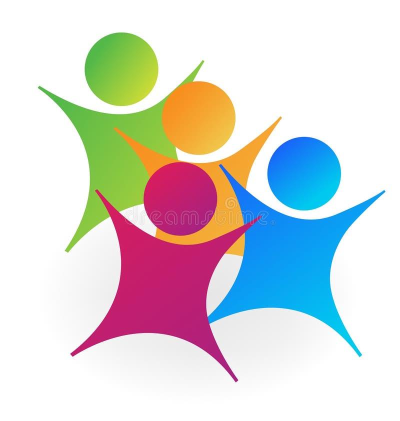 Gruppo allegro allegro della scuola dei bambini, icona illustrazione di stock