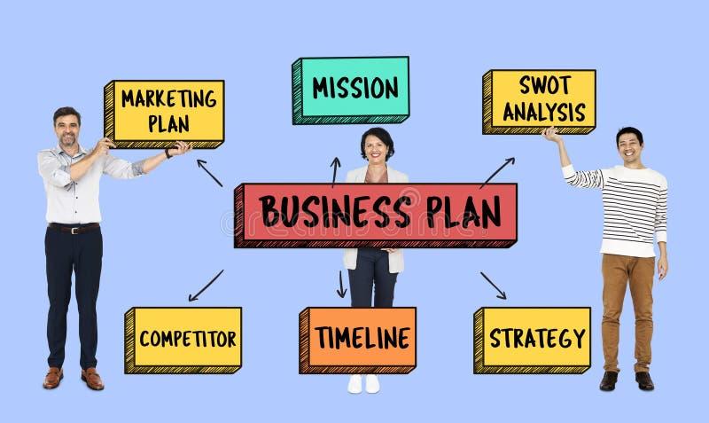 Gruppo con un business plan illustrazione di stock