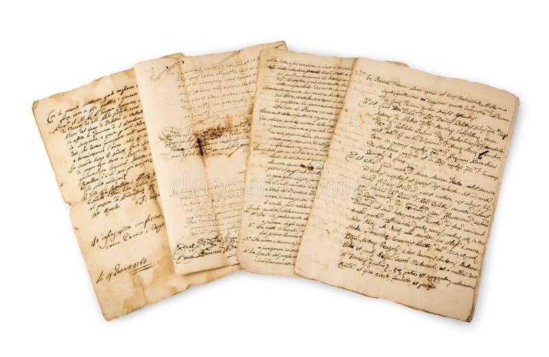 Gruppo d'annata dei manoscritti di Olds fotografia stock libera da diritti