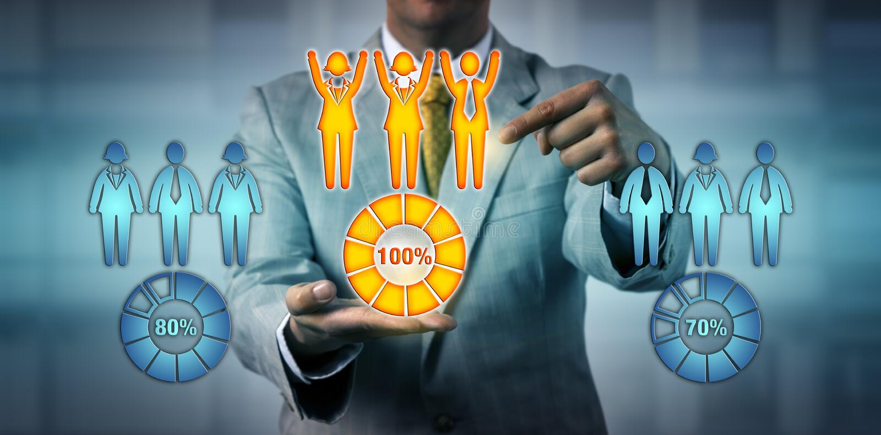 Gruppo d'esecuzione del lavoro di Choosing The Top del responsabile di ora immagini stock