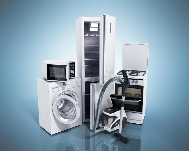Gruppo degli elettrodomestici di stov bianco della lavatrice del frigorifero illustrazione di stock