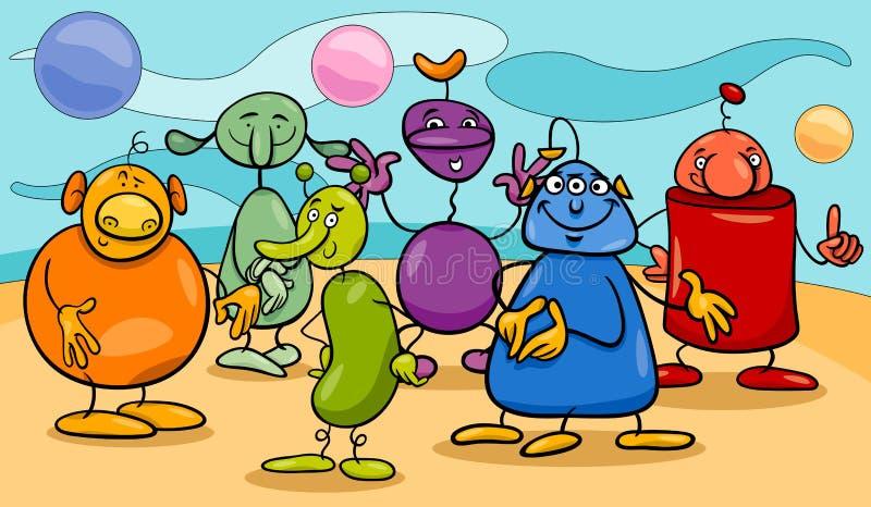 Gruppo dei caratteri di fantasia del fumetto illustrazione vettoriale