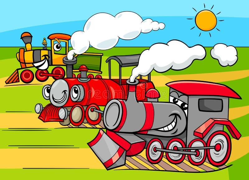 Gruppo dei personaggi dei cartoni animati dei veicoli del motore a vapore royalty illustrazione gratis