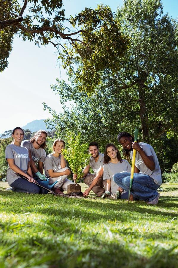 Gruppo dei volontari che fanno il giardinaggio insieme fotografia stock libera da diritti