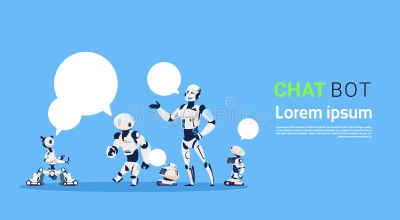 Gruppo del Bot di chiacchierata, elemento virtuale di assistenza dei robot di sito Web o applicazioni del cellulare, concetto di  illustrazione di stock