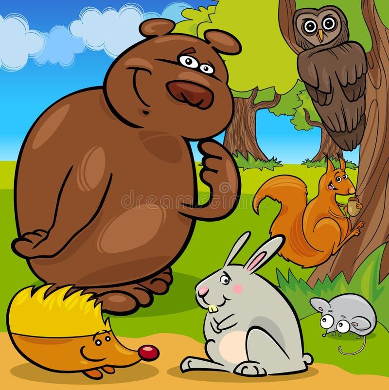 Gruppo del fumetto degli animali selvatici della foresta royalty illustrazione gratis