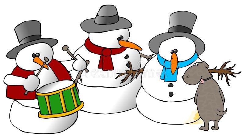 Gruppo del pupazzo di neve e un cane royalty illustrazione gratis