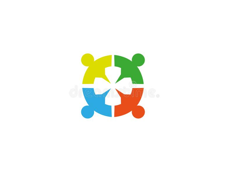 Gruppo del sindacato della rete sociale ed amici dei partner per l'illustrazione di progettazione di logo illustrazione di stock