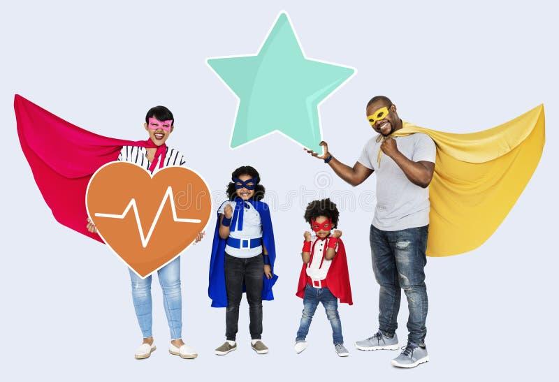 Gruppo del supereroe con assicurazione di protezione della salute fotografie stock