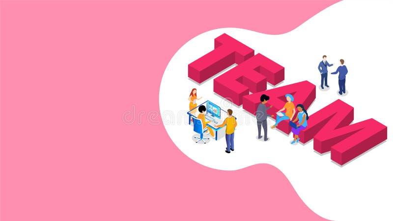 gruppo del testo 3D con la gente miniatura che lavora insieme sul rosa e bianca illustrazione di stock