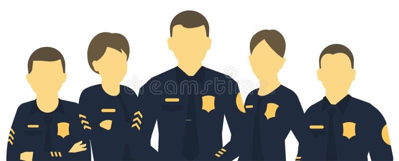 Gruppo della polizia Un gruppo di poliziotti Insegna capa orizzontale Donne ed uomini in uniforme Legge ed ordine Agenti delle fo illustrazione di stock