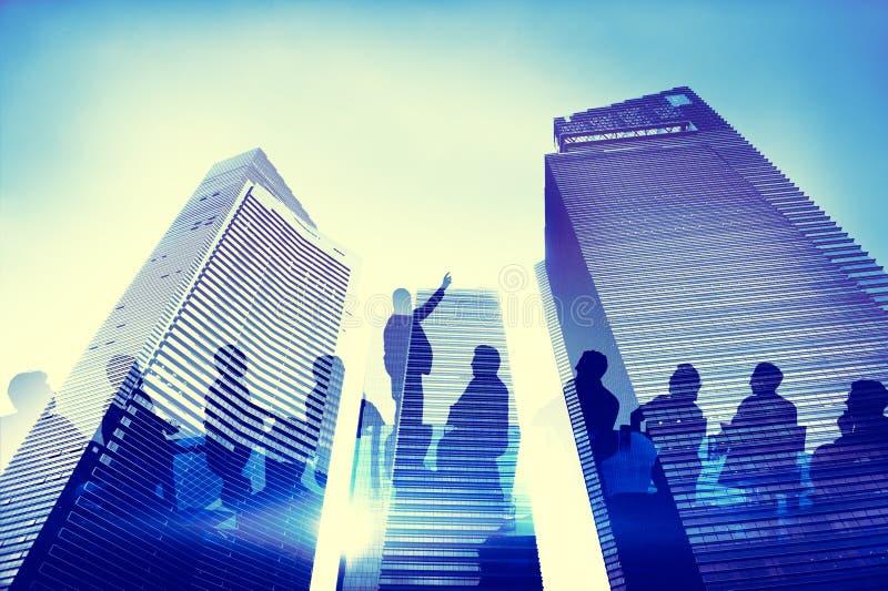 Gruppo della siluetta di gente di affari che incontra concetto fotografia stock