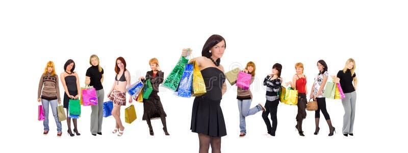 Gruppo delle donne di acquisto isolato immagine stock libera da diritti