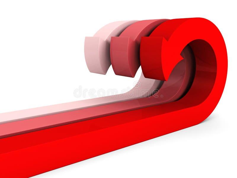 Gruppo delle frecce curvo rosso su bianco illustrazione vettoriale