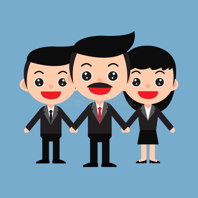 gruppo di ฺBusiness degli impiegati e del capo nello stile sveglio del fumetto fotografie stock libere da diritti