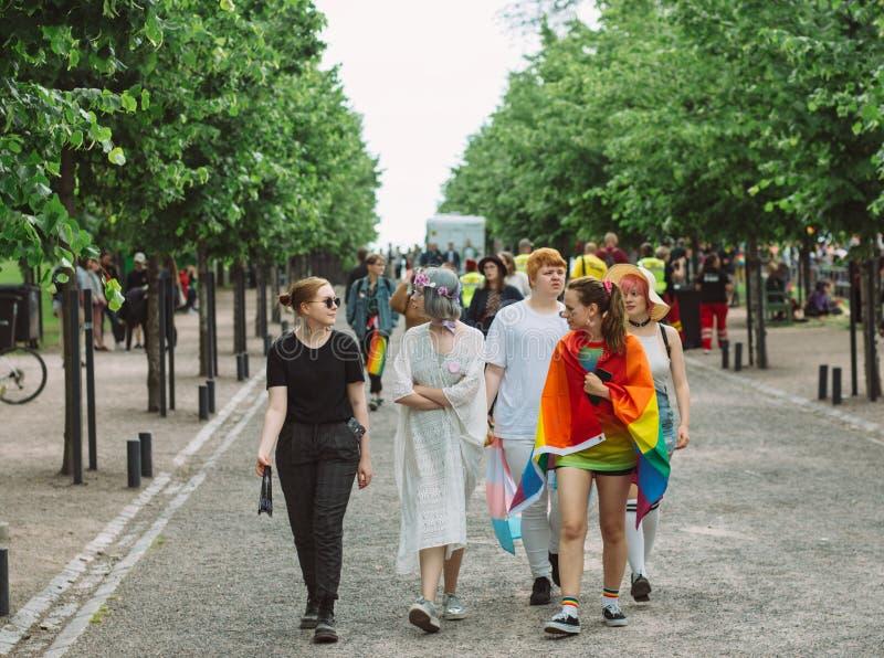 Gruppo di adolescenti sul festival di orgoglio di Helsinki nel parco pubblico di Kaivopuisto fotografie stock libere da diritti