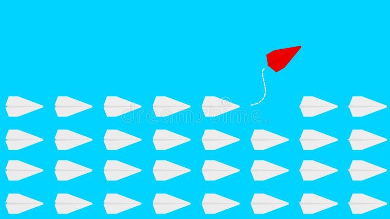 Gruppo di aereo di carta in una direzione e di uno che indica nel modo diverso su fondo blu royalty illustrazione gratis