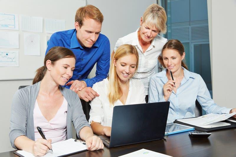 Gruppo di affari che lavora al computer portatile immagini stock libere da diritti