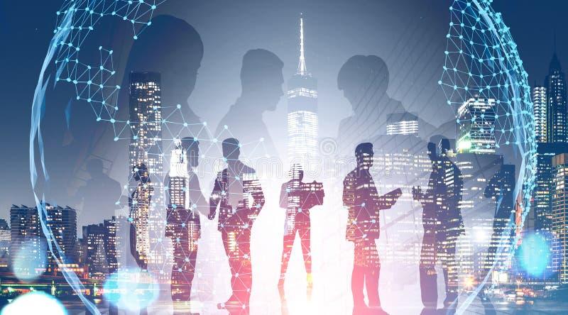 Gruppo di affari in citt? Mondo globale illustrazione di stock