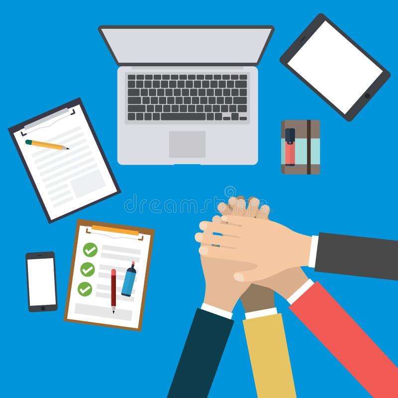 Gruppo di affari con delle mani i concetti di lavoro di squadra insieme - illustrazione di stock