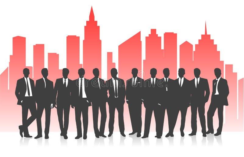 Gruppo di affari contro lo sfondo di una siluetta luminosa della città illustrazione di stock