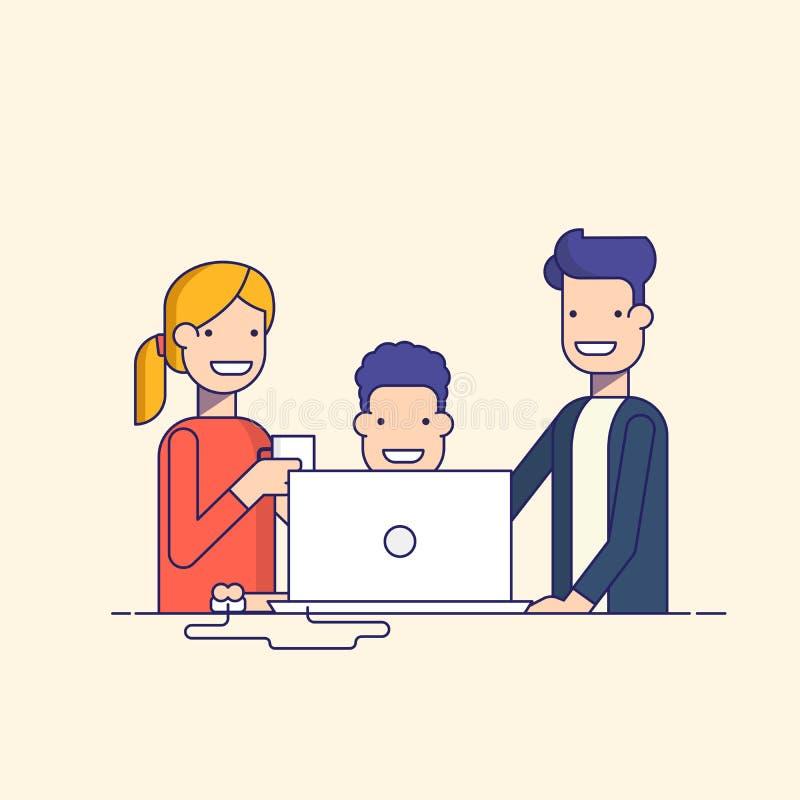 Gruppo di affari in un orologio di processo o del genitore del lavoro il bambino Equipaggi la seduta ad un computer circondato da royalty illustrazione gratis