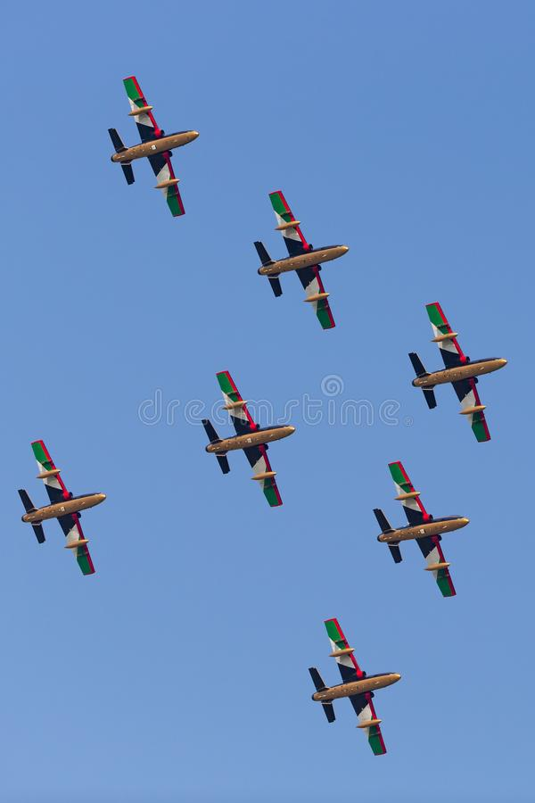 Gruppo di Al Fursan Aerobatic dall'aeronautica degli Emirati Arabi Uniti che pilota l'aereo di addestramento del getto di Aermacc fotografia stock libera da diritti
