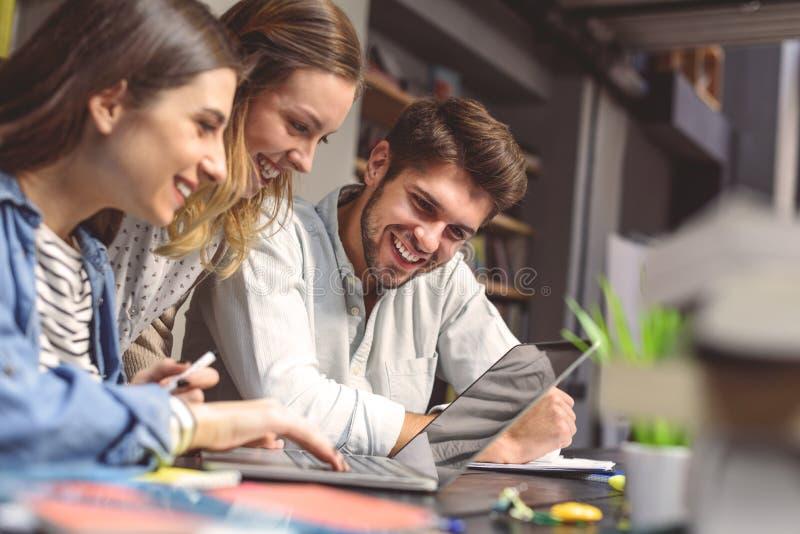 Gruppo di allievi che studiano insieme fotografia stock libera da diritti