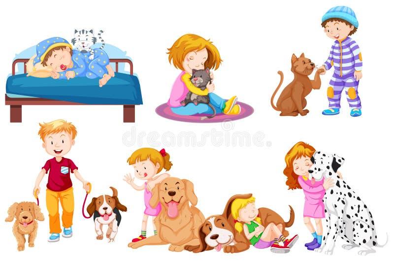 Gruppo di amante dell'animale domestico illustrazione di stock