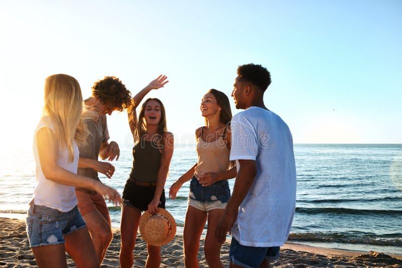 Gruppo di amici che ballano sulla spiaggia fotografia stock libera da diritti