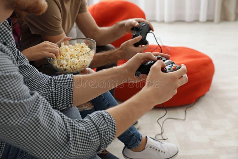 Gruppo di amici che giocano i video giochi a casa immagine stock libera da diritti