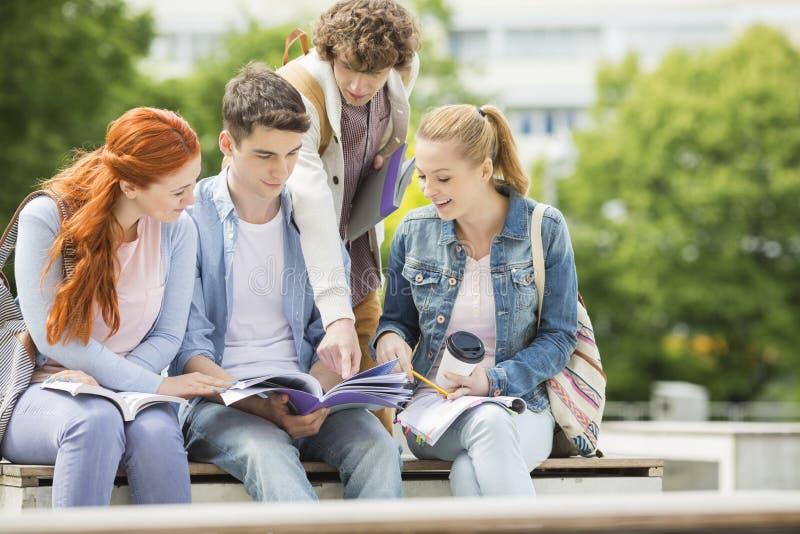 Gruppo di amici che studiano insieme al campus universitario fotografia stock