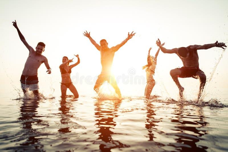 Gruppo di amici divertendosi nell'acqua fotografia stock libera da diritti