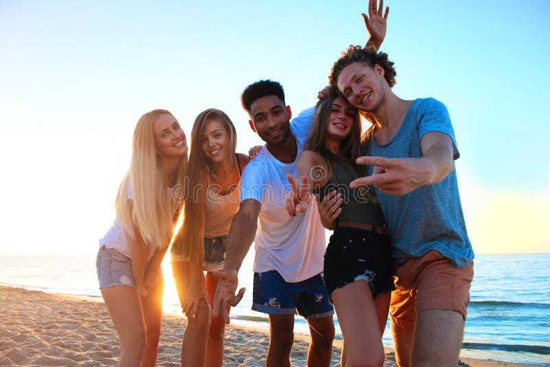 Gruppo di amici divertendosi sulla spiaggia Concetto di estate immagine stock