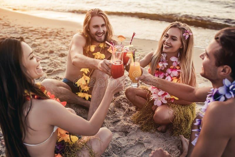 Gruppo di amici sulla spiaggia immagine stock libera da diritti