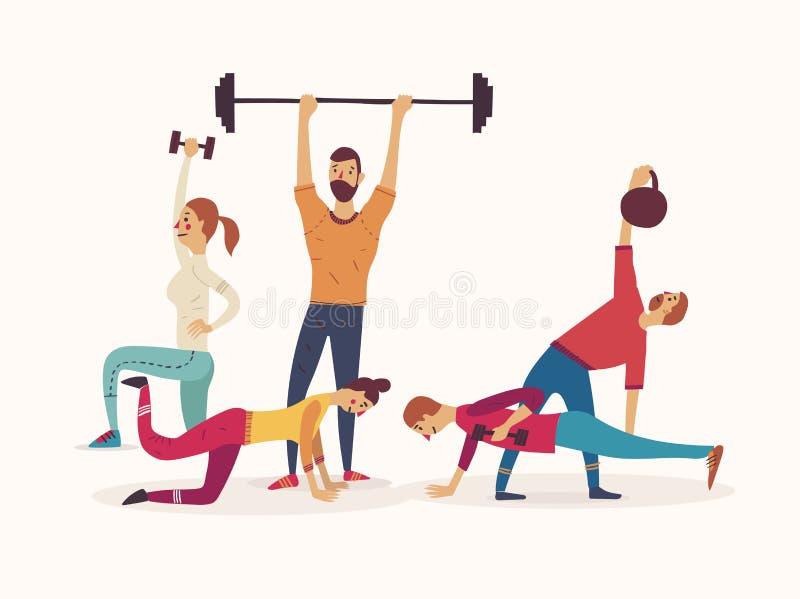 Gruppo di atleti che lavorano con i pesi e di kettlebells che sollevano i bilancieri illustrazione di stock