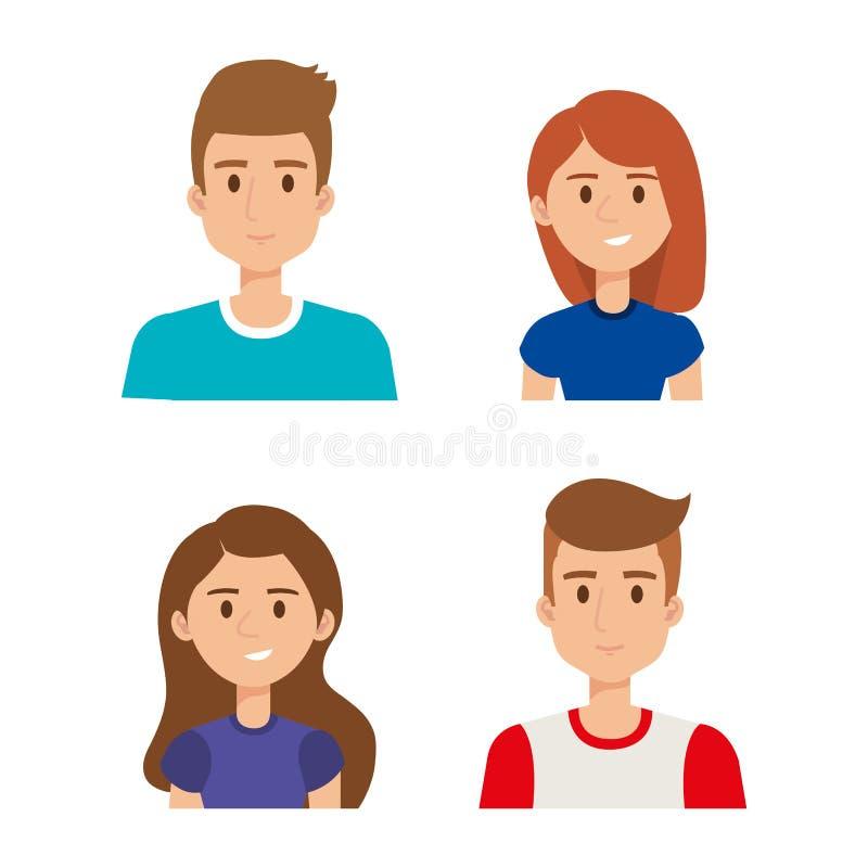 Gruppo di avatar dei giovani royalty illustrazione gratis