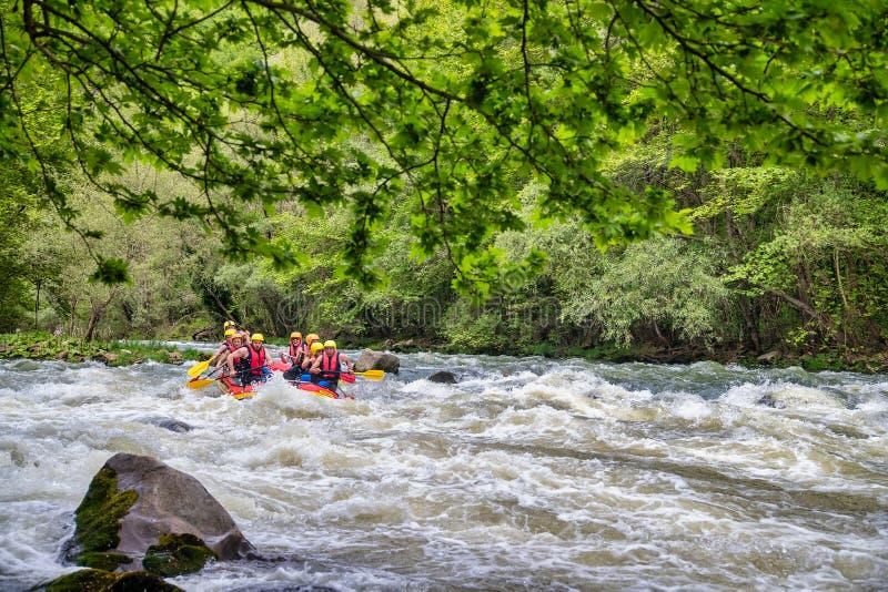 Gruppo di avventura che fa rafting sulle acque fredde del fiume di Nestos fotografia stock libera da diritti