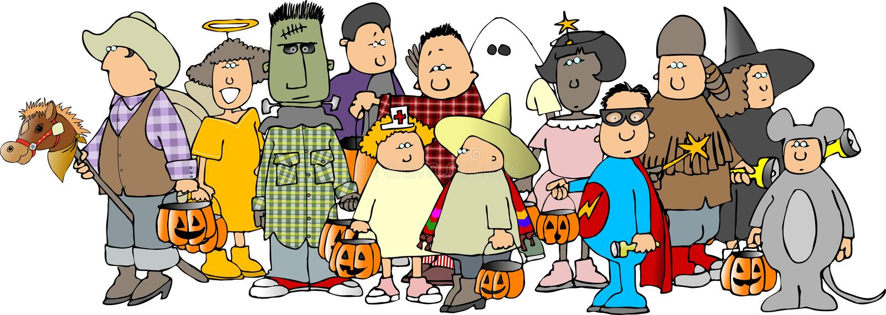 Gruppo di bambini 3 di Halloween illustrazione di stock
