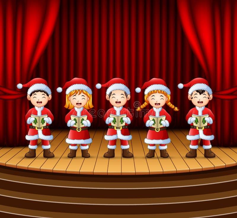 Gruppo di bambini che cantano i canti natalizii di natale sulla fase illustrazione vettoriale
