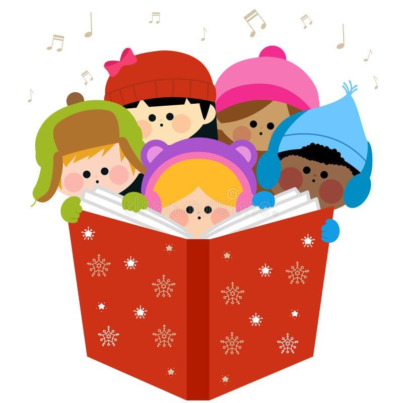 Gruppo di bambini che cantano le canzoni di Natale illustrazione di stock