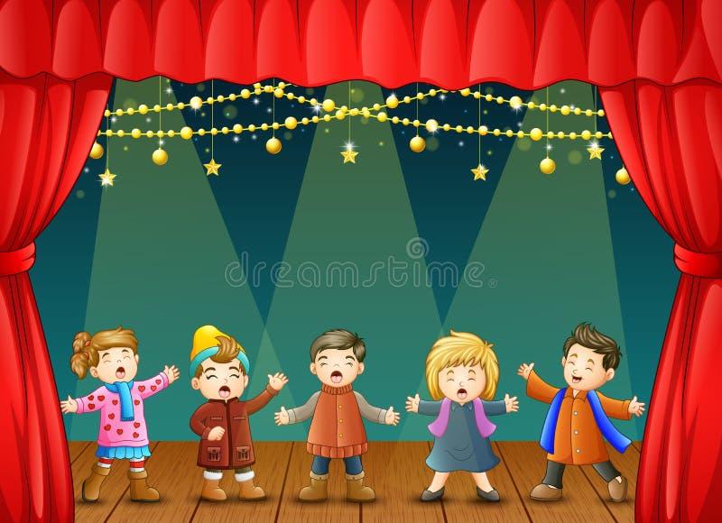 Gruppo di bambini che cantano sulla fase illustrazione vettoriale