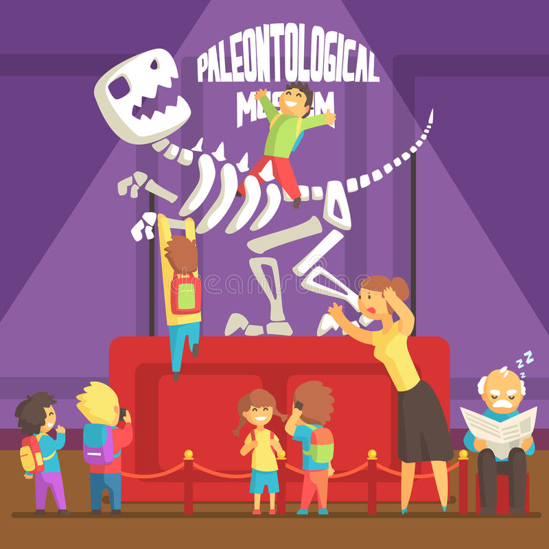 Gruppo di bambini che fanno un disordine nel museo di paleontologia con lo scheletro di T-rex illustrazione di stock