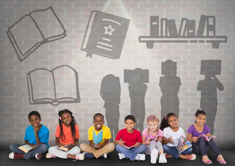 Gruppo di bambini che si siedono davanti ai grafici della siluetta della lettura del libro royalty illustrazione gratis
