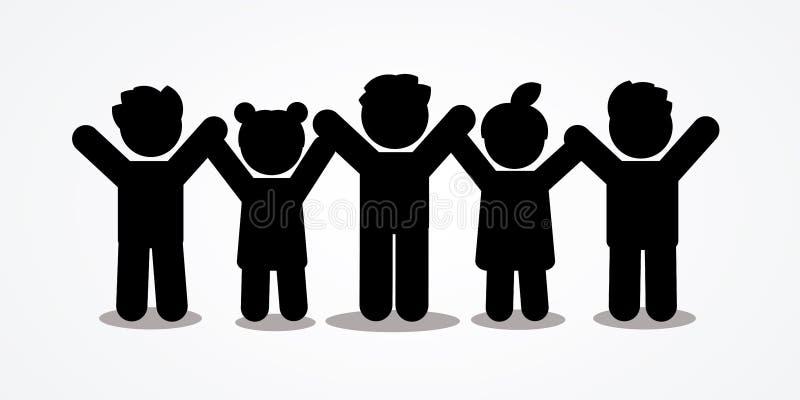 Gruppo di bambini che si tengono per mano icona illustrazione di stock