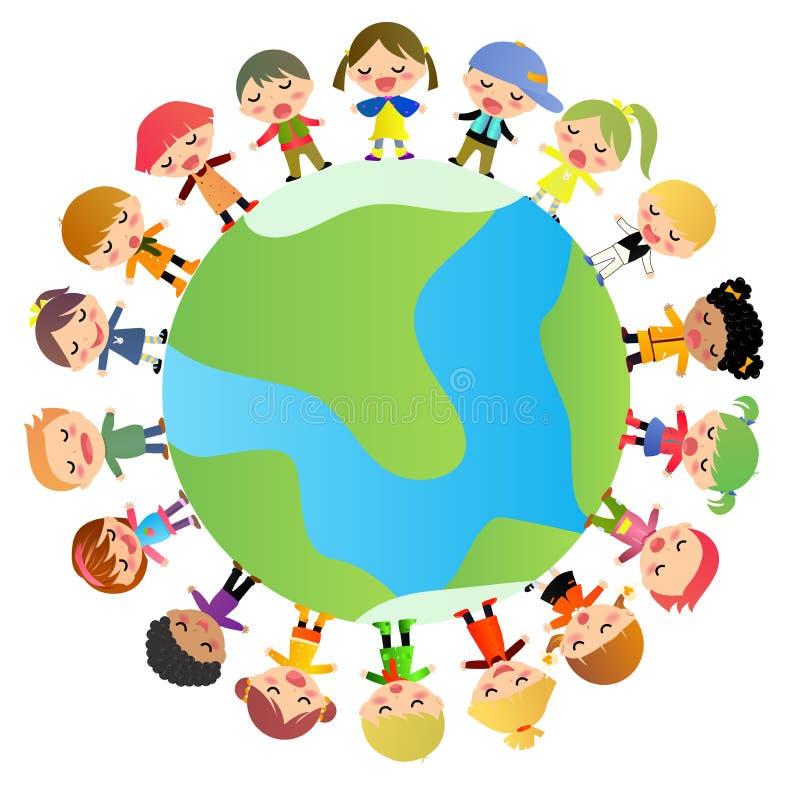 Gruppo di bambini che stanno intorno al mondo illustrazione vettoriale