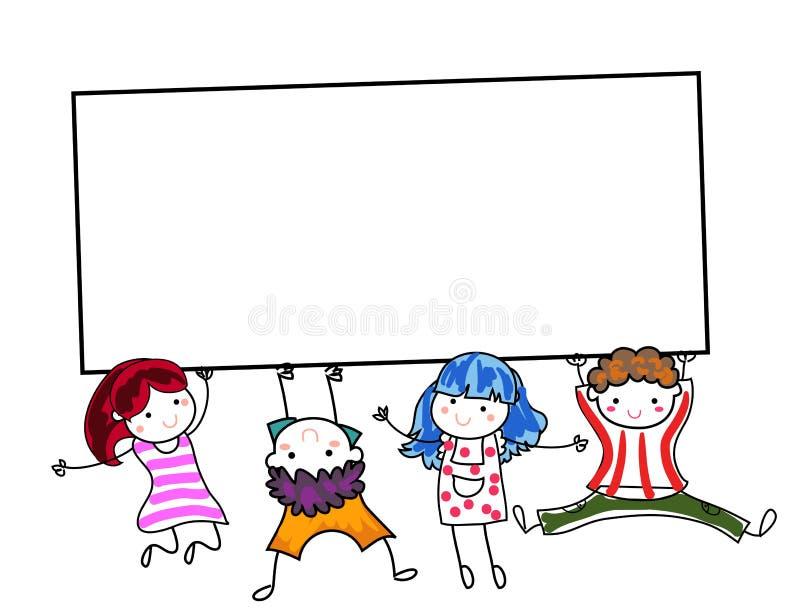 Gruppo di bambini che tengono insegna illustrazione di stock